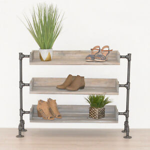 Image Is Loading Pipe And Wood Shoe Rack Organizer