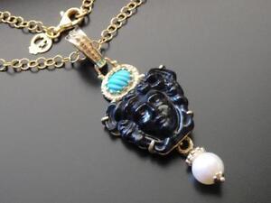TAGLIAMONTE-Necklace-YGP-SS-BLACK-Medusa-VENETIAN-CAMEO-TURQUOISE-PEARL