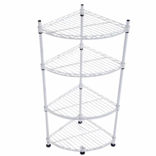 4-Tier Plastic Kitchen Bathroom Stand Storage Shelf Corner Rack Holder Organizer