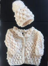 Handmade Crochet Baby Matinee Coat Cardigan  Bobble Hat Cream Popcorn NEWBORN