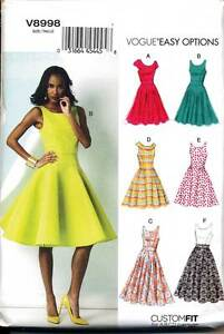 VOGUE-SEWING-PATTERN-8998-MISSES-SZ-14-22-DRESS-FITTED-BODICE-W-PRINCESS-SEAMS