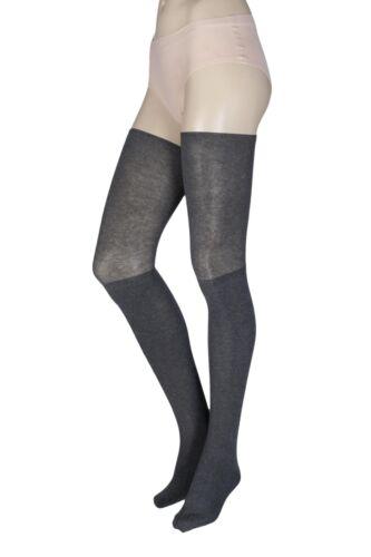 Donna 1 Paio TAVI Noir Charlie coscia alta calze cotone biologico Yoga con grip