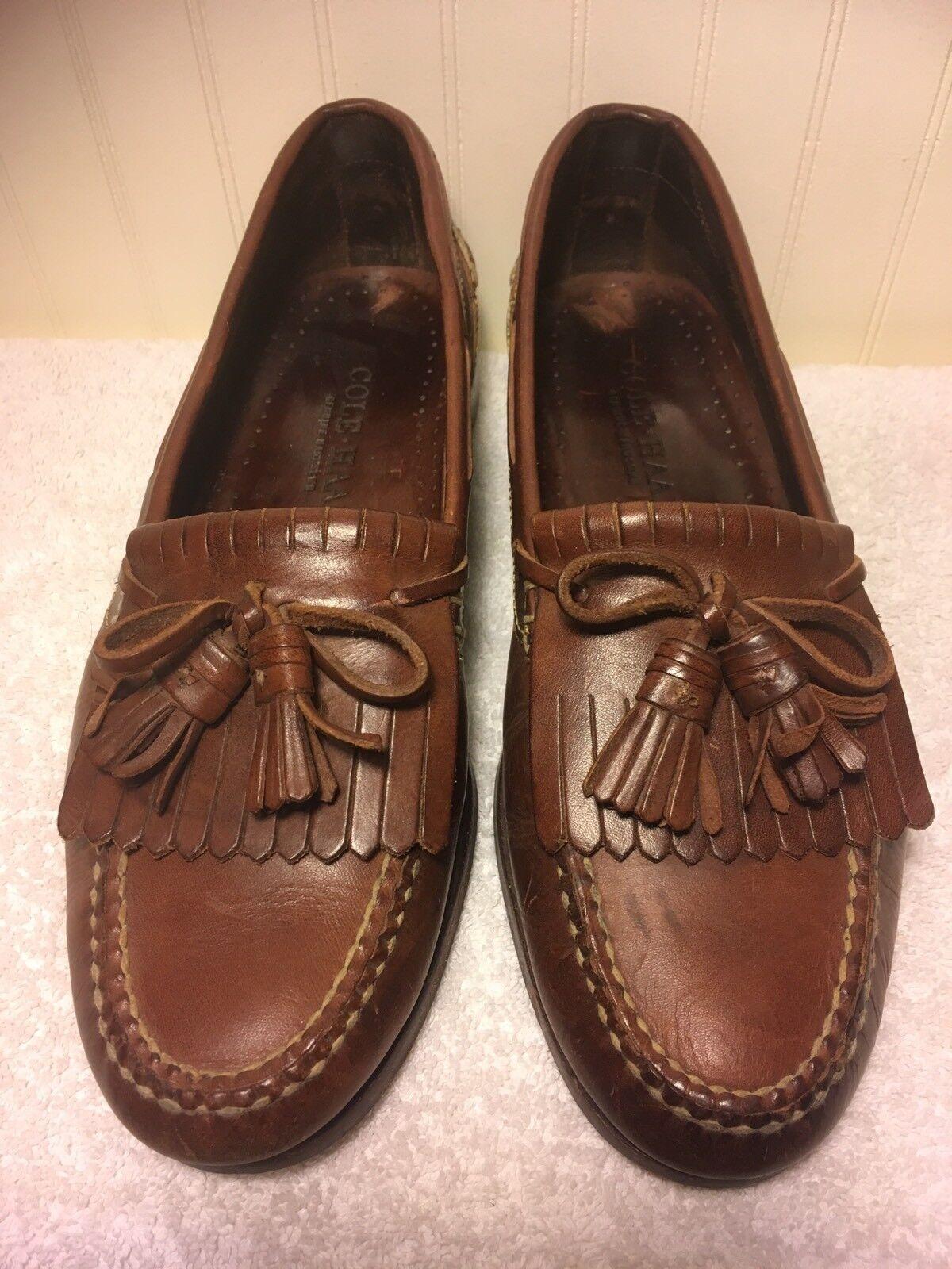 Cole Haan Mens US 9.5 Brown Leather Slip On Loafer shoes Kiltie Tassel Handsewn