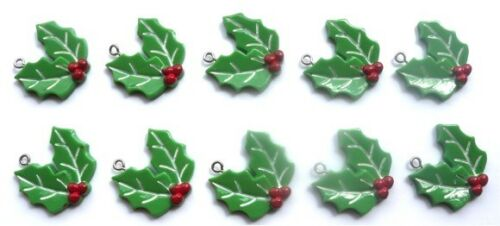10 GORGEOUS MISTLETOE CHARMS RESIN INCLUDES FAST FREE SHIPPING