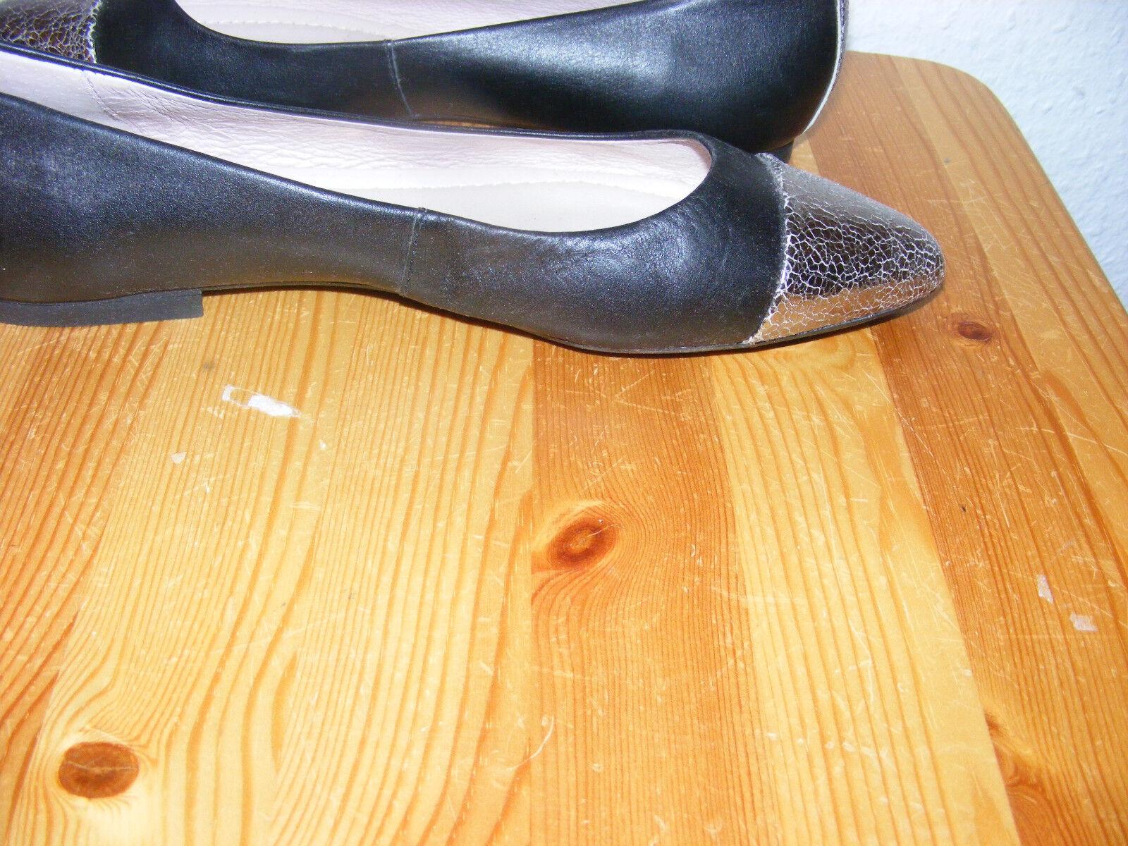 UNISA Gr. 38 schwarze Ballerinas flach Absatz schwarz 0,5 cm schwarz Absatz Spitze silber NEU 72f57c