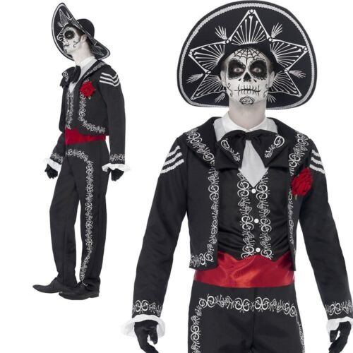 Mens Senor Day Of The Dead Costume Halloween Skeleton Fancy Dress Outfit New