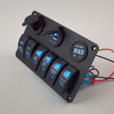 12V 6 Gang Circiut LED Rocker Switch Panel Breaker Voltmeter USB Charger Quality