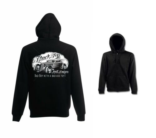 Sweatshirtjacke schwarz V8 Hot Rod US Car-/& `50 Stylemotiv Modell Black Top