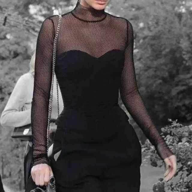 c9e92ad165cbe5 Black Sexy Gothic Mesh Fishnet Goth Women s Clothing Blouses Shirt Tops