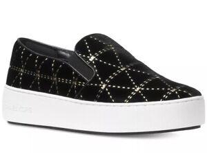 1a167856dc37 New Michael Kors Trent Slip on platform Sneakers Diamond gold stud ...