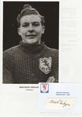 MALCOLM FINLAYSON MILLWALL 19471956 RARE ORIGINAL HAND SIGNED CUTTING WITH PIC