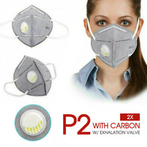 2x P2/N95 PM2.5 Anti Pollution Respirator Mask W/ Exhalation Valve Face