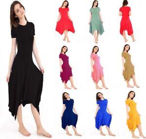 New-Womens-Long-Hanky-Hem-Cap-Sleeve-Flared-Ladies-Swing-Dress-Plus-Size-UK-8-26