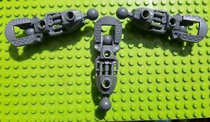Used-LEGO-3x-Bionicle-Toa-Inika-Leg-Lower-Section-53548-57475-DRK-Bleuatre-Gris