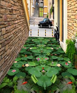 3D Green Lotus Leaf 5 Floor WallPaper Murals Wall Print 5D AJ WALLPAPER UK Lemon
