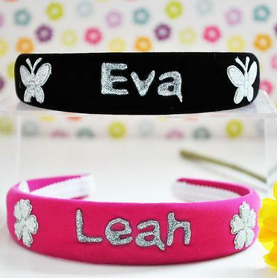 Personalised Velvet Hairbands Alice Bands//Christmas Headbands /& Bag For Girls