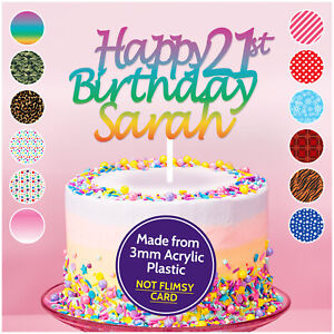 PERSONALISED-18th-21st-30th-40th-Birthday-Acrylic-Cake-Topper-ANY-AGE-ANY-NAME