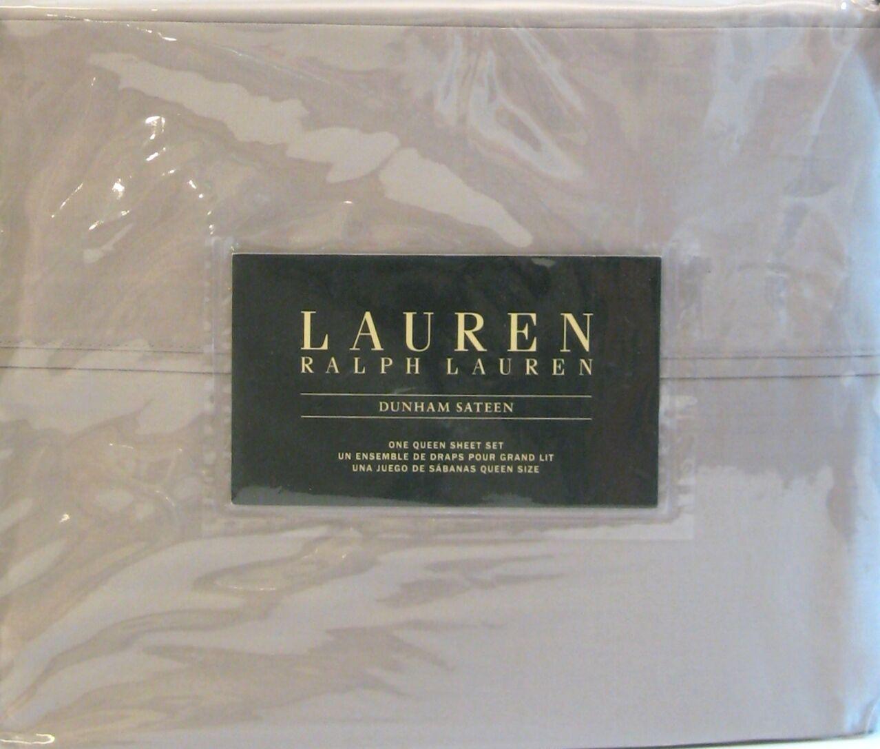 Ralph Lauren 4 PC Cotton Dunham Sateen Sheet Set Solid Dove grau Königin NEW