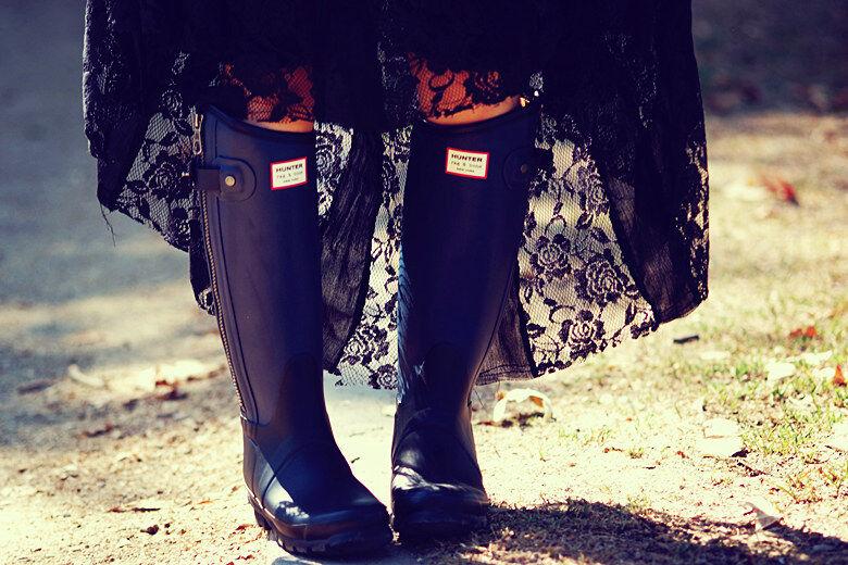 Hunter Limited Rag & Bone Black Rubber Rain Zipper Boots US 8 EU39 Gummistiefel