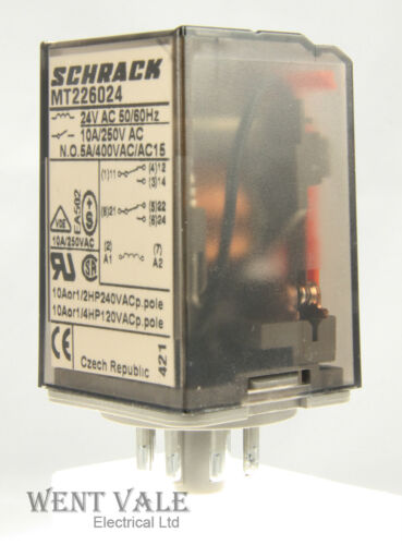 8 Pin Plug-in DPD Relay 24vac Coil Un-used Schrack Multimode MT226024-10a