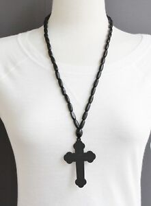 Details About Black Wood Cross Long Necklace Big Cross Pendant Wooden Bead Beaded