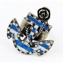 Verstellbar vintage kristall emaille anker und bronze rose ring