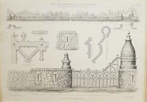 1868-Architektonisch-Aufdruck-Gates-amp-Garten-Wand-bei-Cove-Lochlong-Thomson