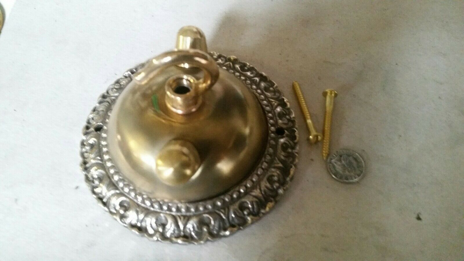 Large dome CEILING ROSE 108mm chandelier hook VINTAGE c1950s cast brass OLD