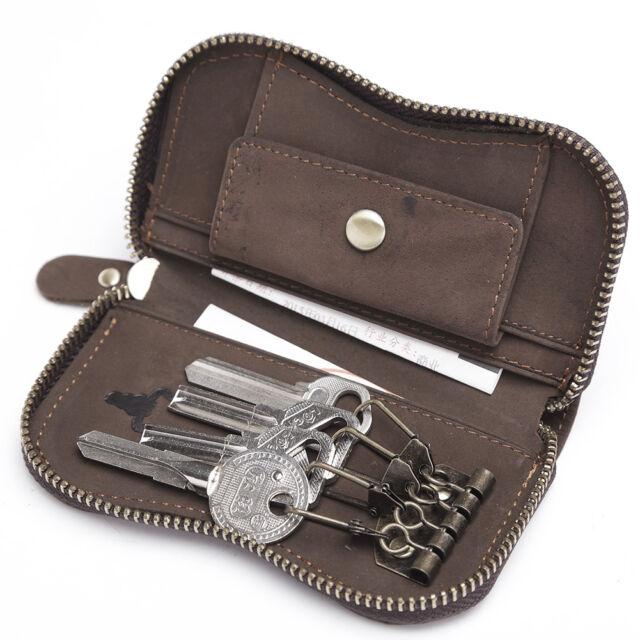 Teemzone Fashion Mens Cowhide Wallet Keychain Zip Pouch Purse 4 Keyings Clip
