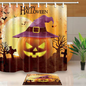Image Is Loading Halloween Shower Curtain Set Horror Pumpkin With Witch