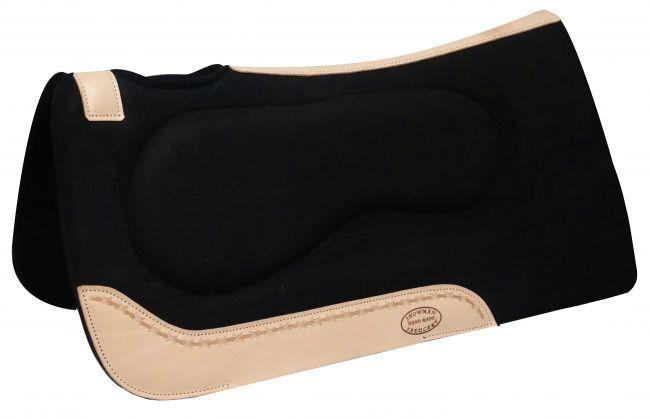 SHOWMAN ® 32  X 31  feutre schwarz built up Pad avec l'Silberine vache finitions en cuir