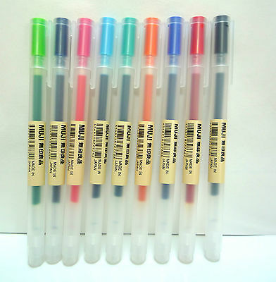 MUJI Color Gel Ink Ballpoint Pen All Color Set 0.38mm 9 pieces Made in Japan