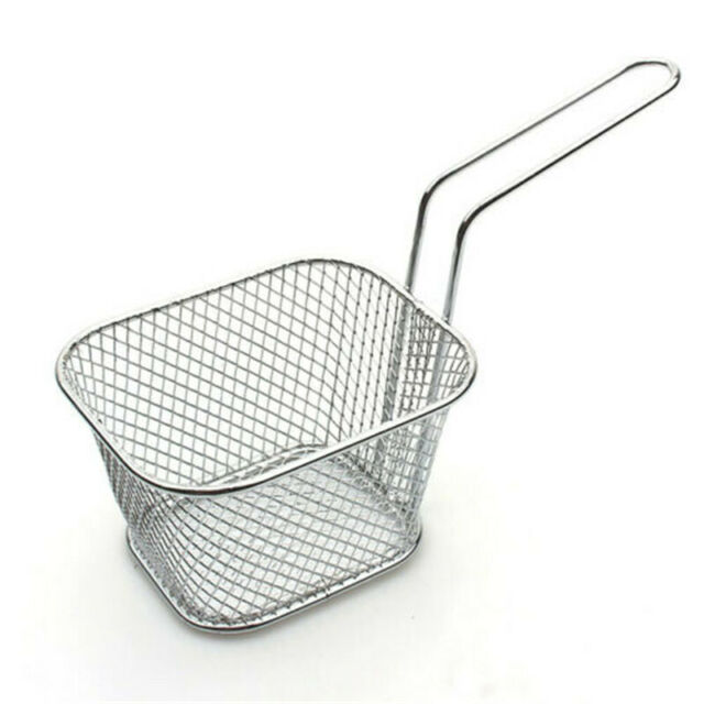 6 X Round Mini Chip Pan Fryer Fries Serving Baskets With Handle Serving Dish