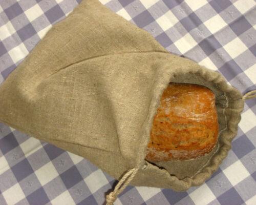 "Reusable 9.8/""x13.5/"" 25x34cm Handmade Natural Linen Bread Bag Bread Storage Bag"