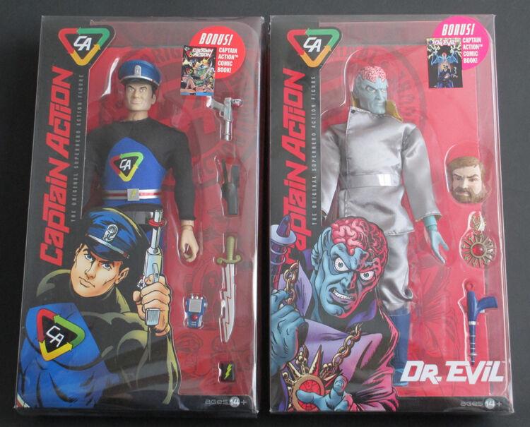 Capitán acción y Dr. Evil conjunto de dos 12 Pulgadas Figuras Menta en Caja Sellada