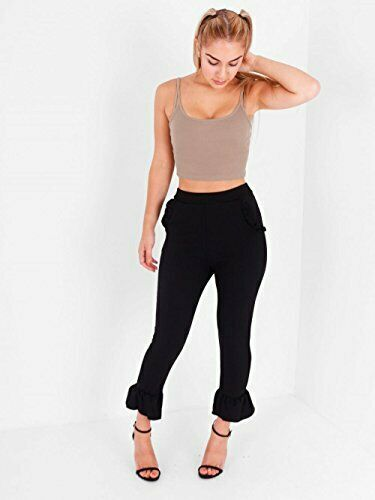 SALE PRICE Ladies Cropped Frill Draped  Smart Detail Trousers Pants  Size 6-12