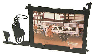 Steer-Calf-Roping-Rodeo-Cowboy-Picture-Frame-3-5-034-x5-034-3-034-x5-034-H