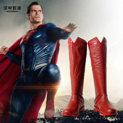 Justice League Superman Clark Kent Cosplay Red Leather Boots Shoes Custom Made