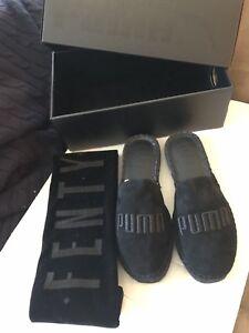 super popular 715e1 6de19 Details about PUMA X FENTY ESPADRILLE JET BLACK RIHANNA FASHION Slides  Slipper with Bag Pouch