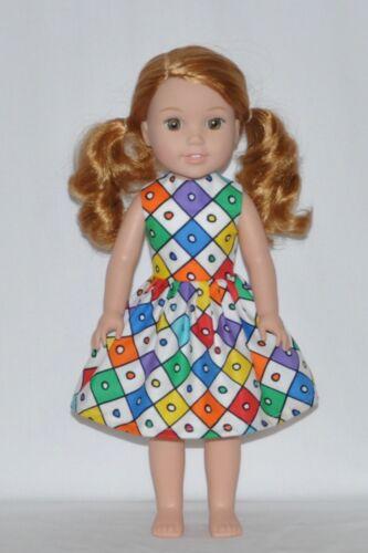 Diamond N Polka Dots Doll Dress Clothes Fits American Girl Wellie Wisher Dolls