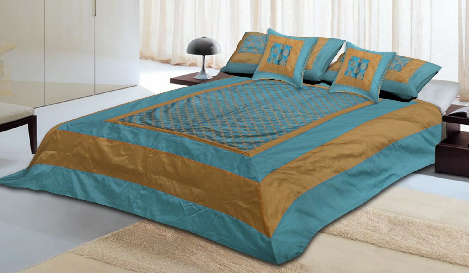 Brocade Traditional Embroidery Work Bedspread Bed Set Bed Cover Bedding