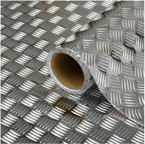 SILVER METALLIC CHEQUER PLATE 1.5 METRES FABLON STICKY BACK PLASTIC 45CM WIDE