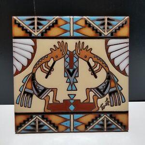 Vintage Tu-oti Earthtones handcrafted Tile Trivet