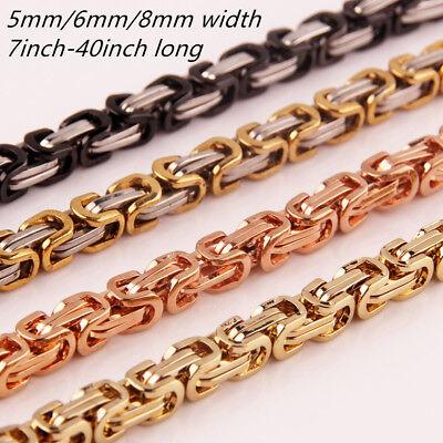 "7/""-40/"" 5//6//8mm Stainless Steel Women Men/'s Byzantine Chain Necklace or Bracelet"