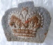 Badge- Vintage British Army Officers Insignia Crown Cloth Badge QC