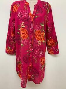 Nuevo-Ex-Bon-Marche-Rosa-Floral-Print-Puro-Algodon-Camisa-Tunica-Top-Talla-10-24