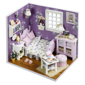 Romantic Summer Doll House LED Dollhouse DIY Cabin Miniature Kit Xmas Gift