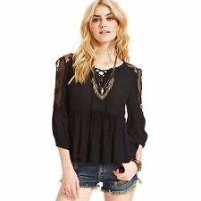 3478 New Free People Peplum Embroidered Tie Front Lace Black Blouse Tunic Top S