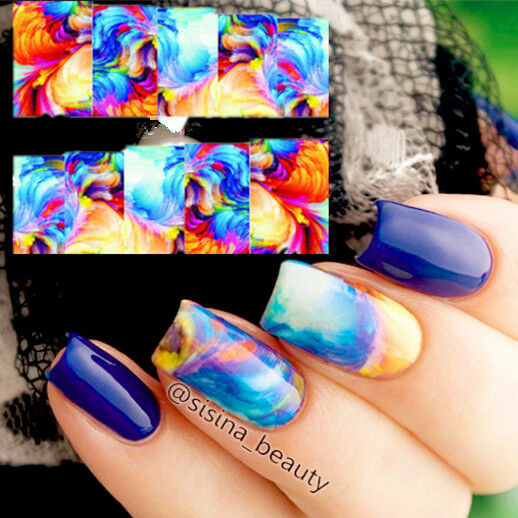 1 Sheet Oil Painting Style Nail Art Water Decals Transfer Sticker Wraps XF1398