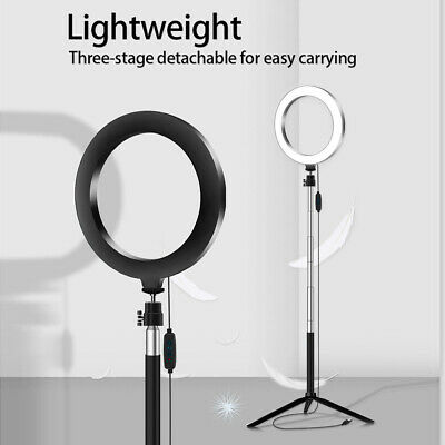 5-in-1 USB LED Ring Light Dimmable Ring Light with Remote Control Selfie Stick Phone Clamp Tripod